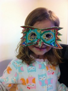 Miss M & Papai's special hand crafted carnival mask!