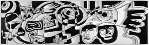 Soiree du Coeur | 61cm x 178 cm | MDF, Acrylic, Ink | 2008