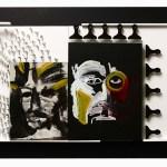 Christus Rex versus Christus Victor | 82.3cm x 127cm | MDF, acrylic,enamel, combs, figures of war | 2010