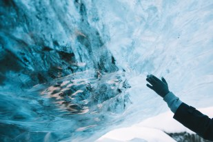 Touching the glacier's underbelly