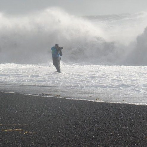 Tourist Wades Into Reynisfjara For Better Pictures