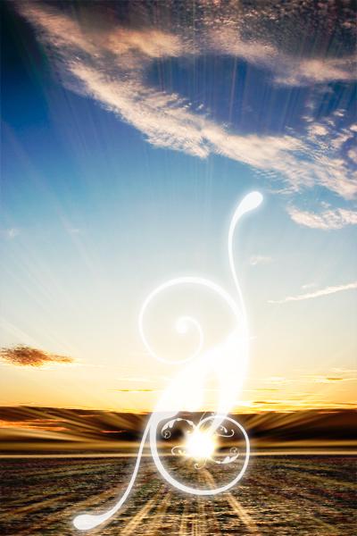 Swirls Brush in Sunset Photo