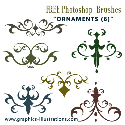 Yet Another HiRes, Commercial Free, Photoshop Brushes Set (6) Ornaments