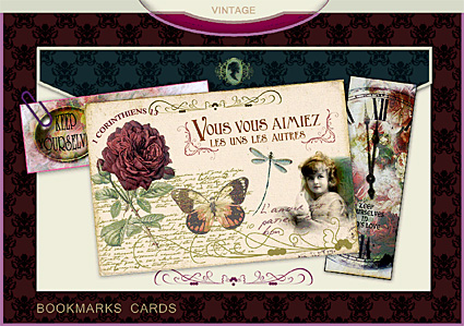 Damask Patterns by Gordeee, Bookmarks cards