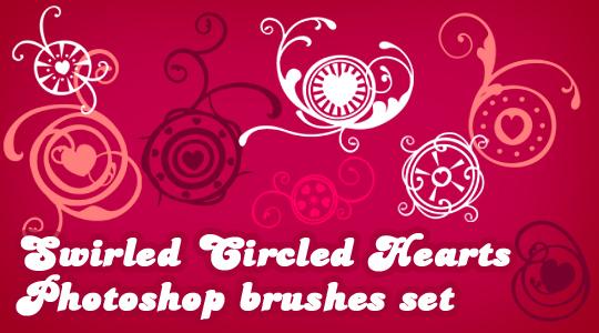 Swirled Circled Hearts Photoshop brushes