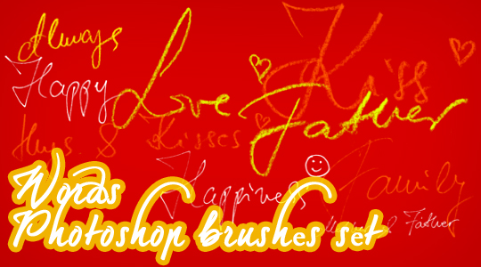 Words (handwritten) Photoshop brushes