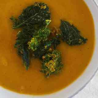 Butternut Squash Soup from The Grateful Grazer.  This simple soup combines butternut squash, sweet potatoes, and coconut milk to create a creamy base, while garam masala and garlic give this it a punch of flavor.  It's the perfect start to my healthy holiday menu.
