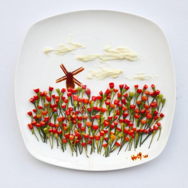 Food art: chili padi tulips by hong yi
