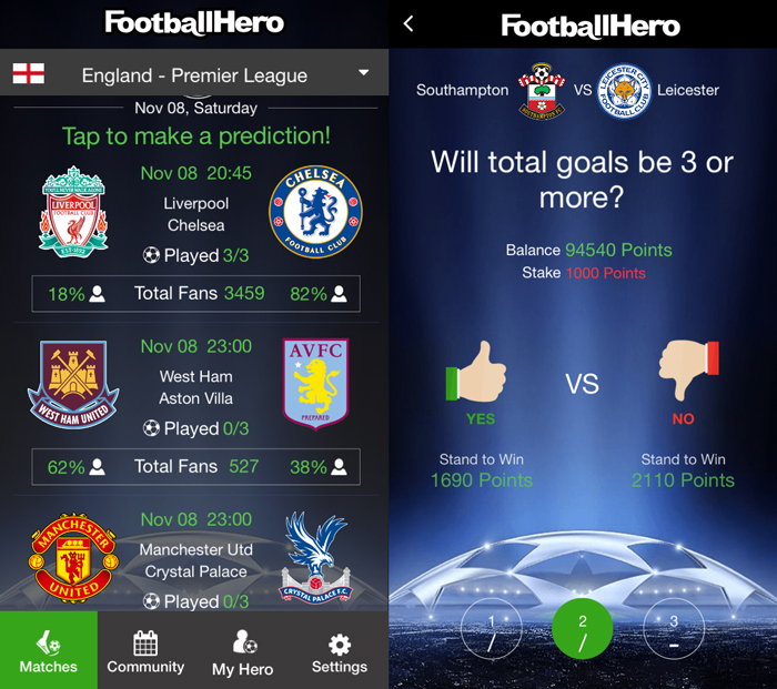 FootballHero provides statistics on which team is favoured by players, as well as different punting categories