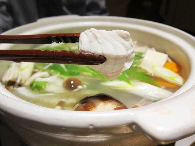 Thick chunky pieces of Fugu is used to flavour the hotpot
