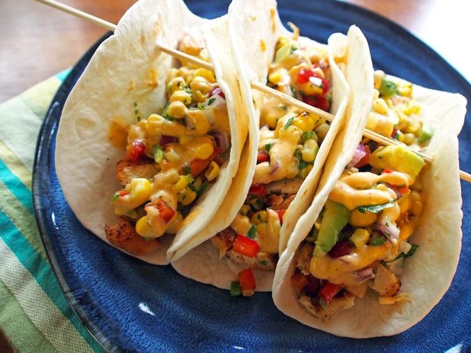 Chicken Tacos with Grilled Corn & Avocado Salsa – Gravel & Dine