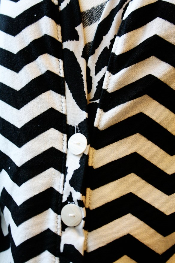 I used a zig zag stitch to mimic the chevron pattern