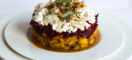 Mango-beet timbale with goat cheese