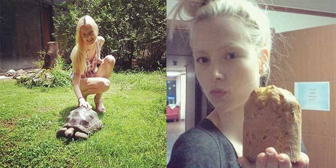 Fashion model Emma Haarsma is modelling in Seoul. Left: playing with a turtoise in between castings. Right: weird Korean food.
