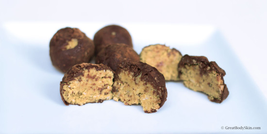 Inside of the chocolate covered almond butter truffle balls