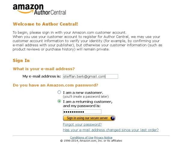 Log in to Author Central