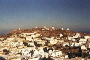 view of the windmills in Hora in Amorgos