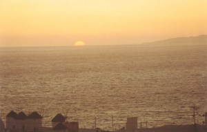 sunset over the windmills in Mykonos