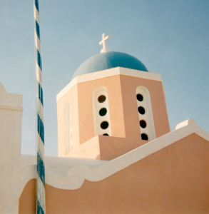 Colourful church in Oia in Santorini