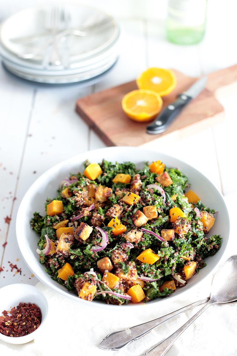 Quinoa, Pumpkin and Kale Salad with Tempeh • Green Evi