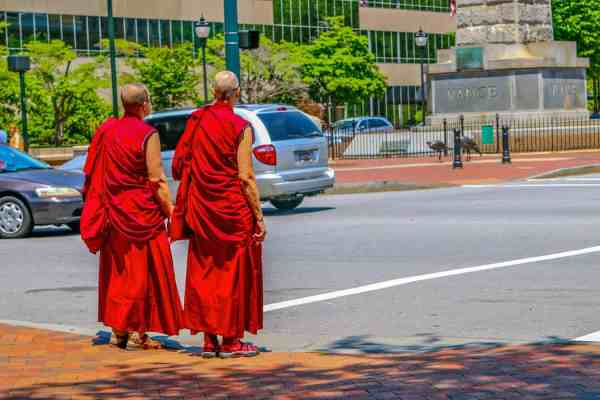Buddhist Monks in downtown Asheville's Pack Square