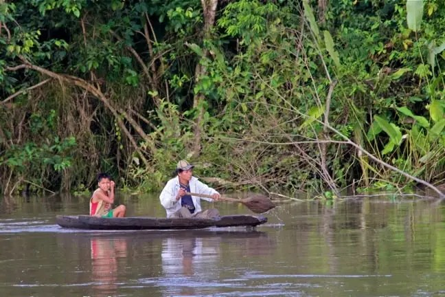 Dugout Canoe in the Peruvian Amazon