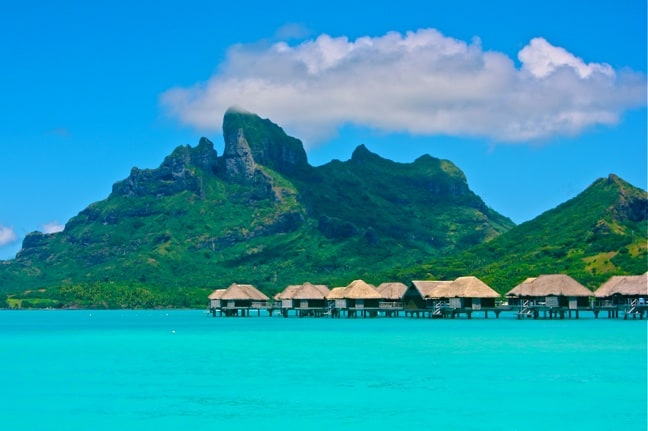 Over-water bungalows at the Four Seasons Resort, Bora Bora.