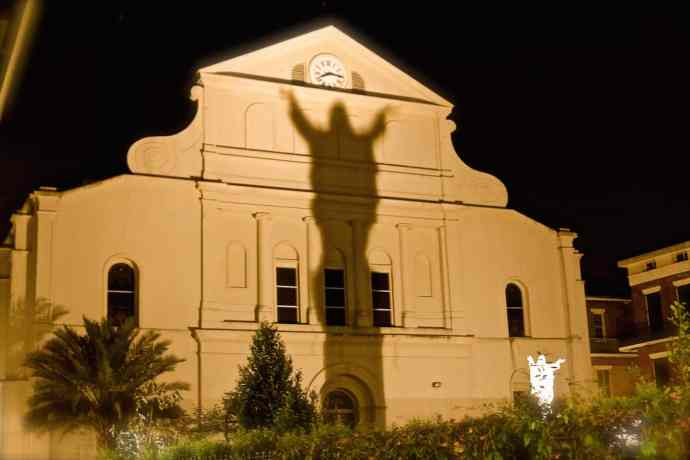 Shadowy Jesus on the Haunted New Orleans Walking Tour