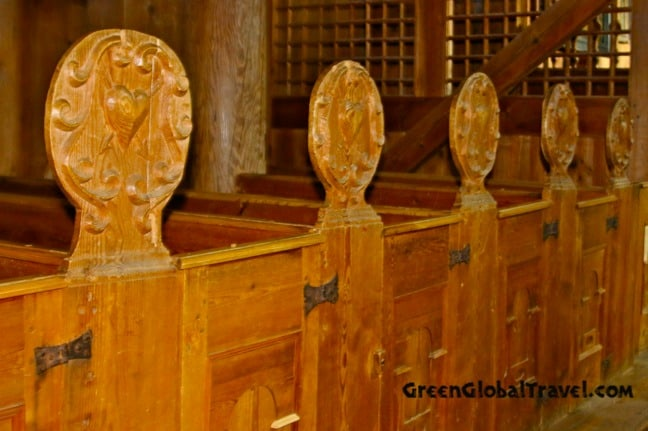 Pews in Urnes Stave Church, Norway