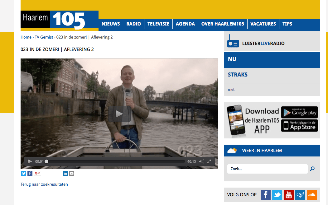 Opnames in Haarlem voor  105 RTV