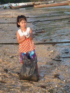One of the many beach clean up vounteers!