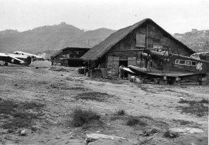 Two Loening carcasses at Chungking's Sanhupa Airport, 1938