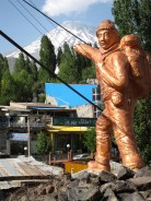 strange statue of a mountaineer