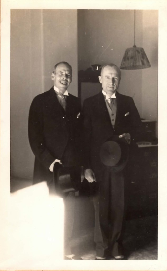 The groom and his best man: Harold M. Bixby and William Bond at Bond's wedding, 1935
