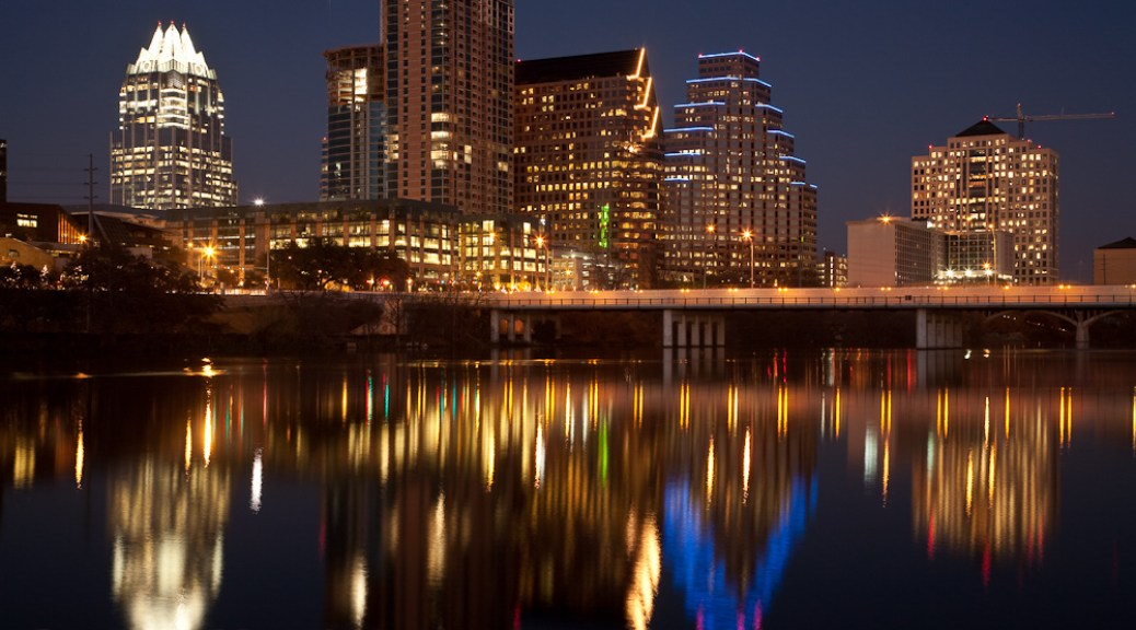 Reflections of Downtown Austin at Night