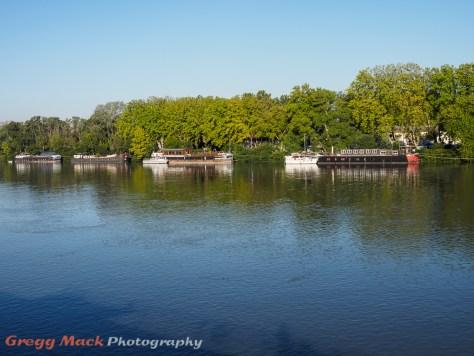 Boats on the Rhone River in Avignon, France