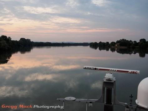 Cruising north of Lyon on The Saone River at twilight.