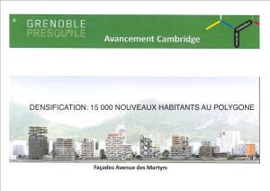 Tout à côté également la municipalité Piolle poursuit le projet Destot: 15 000 nouveaux habitants sur la presqu'ile sans espaces verts, sans stationnement, sans voirie supplémentaires !