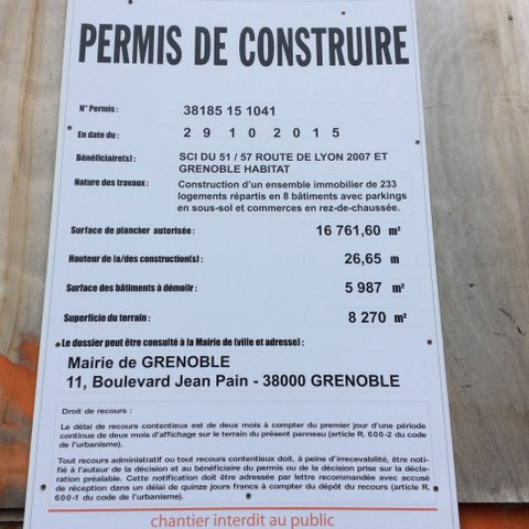 le permis de construire déjà déposé par M.Boileau (Verts/Ades)
