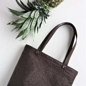 vegan leather pinatex bucket tote