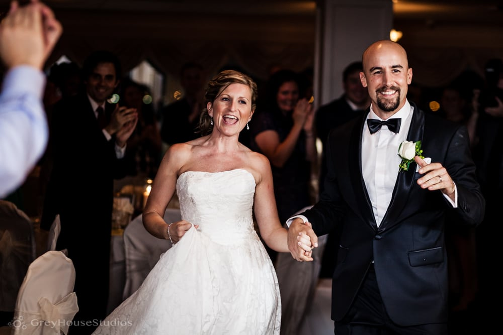 amarante's seacliff wedding photos bride groom enter reception new haven ct