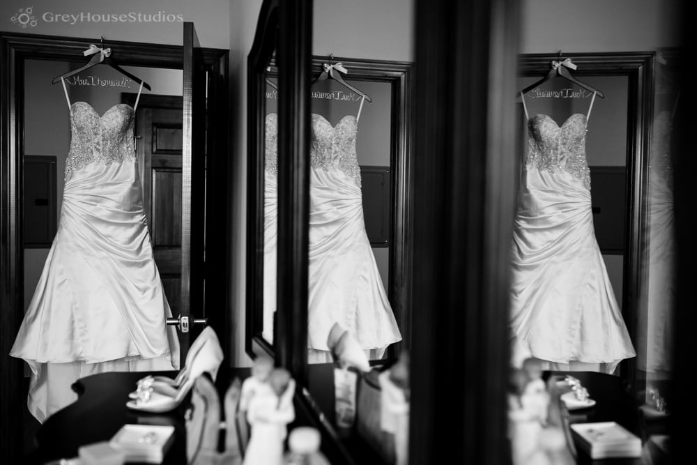 long island wedding photos wedding dress reflection in mirror