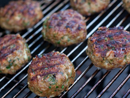 Grilled Meatballs on a Charcoal Grill