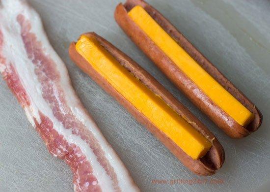 Bacon wrapped cheddar stuffed hotdogs