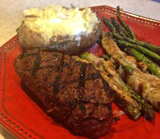 Grilled Beef Tenderloin with Grilled Asparagus in Phyllo and Grilled Baked Potato