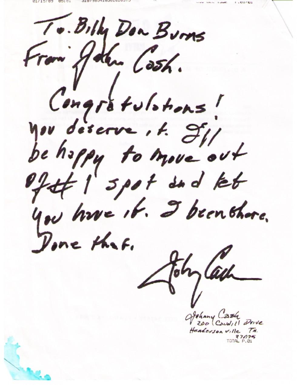 Hank Cochran Memories pt.2 – Fax from John Cash