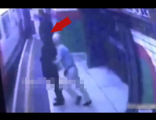 【閲覧注意】駅のホームで後ろから女性を突き落とす一部始終・・・