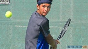 Logan Smith winds up his backhand at the 2013 iTennis/Andulka Park Adult Open Tennis Championships.