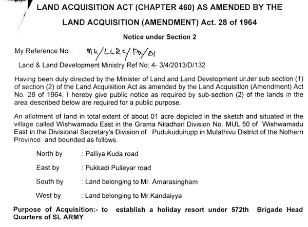 Land acquisition by the Sri Lankan Army in Kilinochchi and Mullaitivu Districts