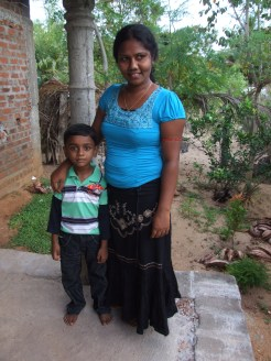 Abhilash Jeyaraj with his mother Junita Jeyaraj at their house in Kurukkalmadam, Batticaloa District